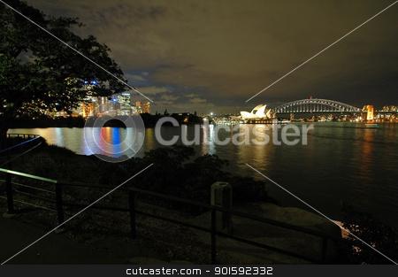 Sydney landmarks stock photo, Sydney landmarks at night; photo taken from Royal Botanic Gardens by Robert Remen