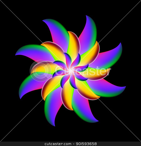 Abstract flower design stock photo, Vector illustration of abstract flower design on black background by dvarg