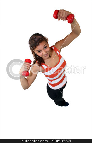 Woman lifting weights over head stock photo, Woman lifting weights over head by photography33