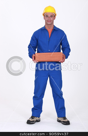 Roofer carrying pile of tiles stock photo, Roofer carrying pile of tiles by photography33