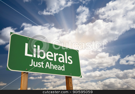 Liberals Green Road Sign and Clouds stock photo, Liberals Green Road Sign with Dramatic Clouds, Sun Rays and Sky. by Andy Dean