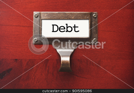Lustrous Wooden Cabinet with Debt File Label stock photo, Lustrous Wooden Cabinet with Debt File Label in Dramatic LIght. by Andy Dean