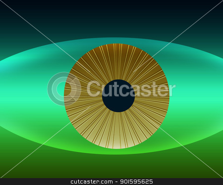 Natures Golden Eye in Natural Colors stock photo, Natures Golden Eye in Natural Green and Blue Color Stripes by Snap2Art