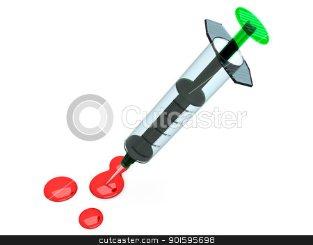 Syringe stock photo, A medical syringe. 3D rendered Illustration. Isolated on white. by Michael Osterrieder