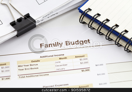 Family Budget stock photo, Spreadsheet printout, pile of receipts and a spiral notebook by gustavotoledo