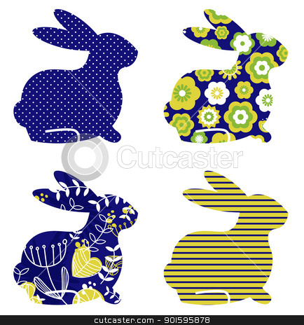 Abstract spring bunny set isolated on white ( blue & green ) stock vector clipart, Spring patterned bunny collection. Vector by BEEANDGLOW
