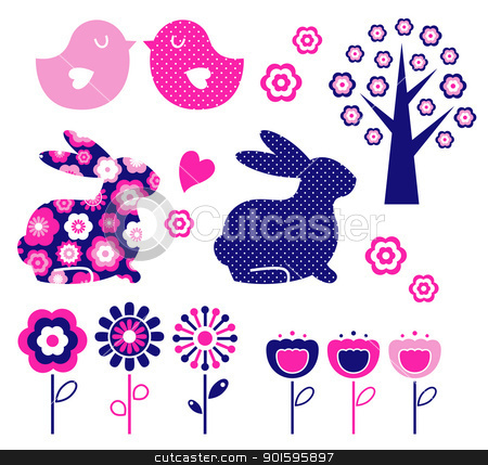 Spring and easter design elements set ( vector ) stock vector clipart, Spring and easter elements isolated on white. Vector by BEEANDGLOW