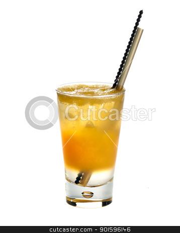 Citronada.Orange juice stock photo, Citronada,Orange-squash.Fresh orange juice  poured in different layers  with ice isolated on white background  by borojoint