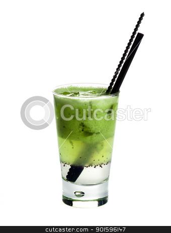Citronada.Kiwi juice stock photo, Citronada,Kiwi-squash.Fresh kiwi juice poured in different layers with ice isolated on white background  by borojoint
