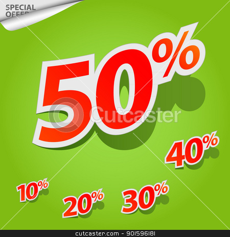 Vector set of labels percent stock photo, A set of labels for special offers and sales discount by Imaster