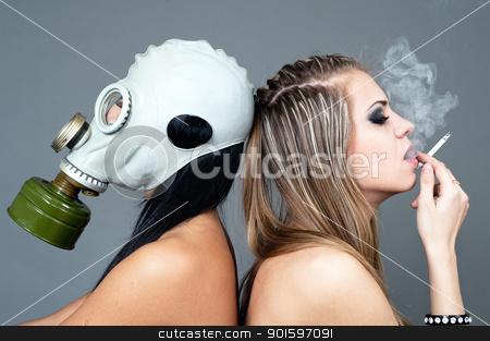 smoking harms a health stock photo, a smoking girl spoils life circumferential by shurup