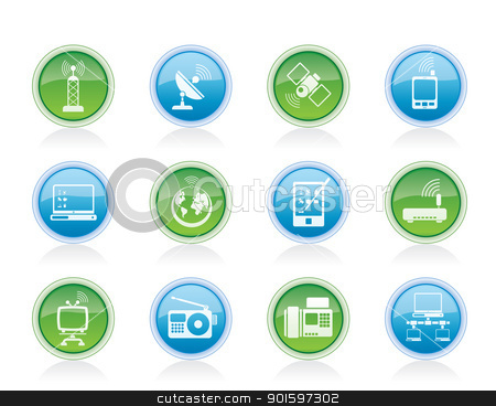 communication and technology icons  stock vector clipart, communication and technology icons - vector icon set by Stoyan Haytov