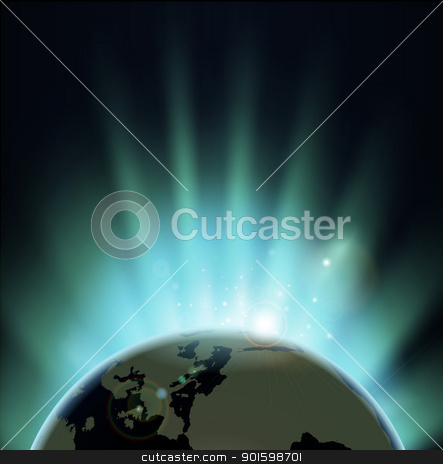 Sun rise background stock vector clipart, Background with rays of sun rising or setting over the earth. Europe and Africa in front.  by Christos Georghiou