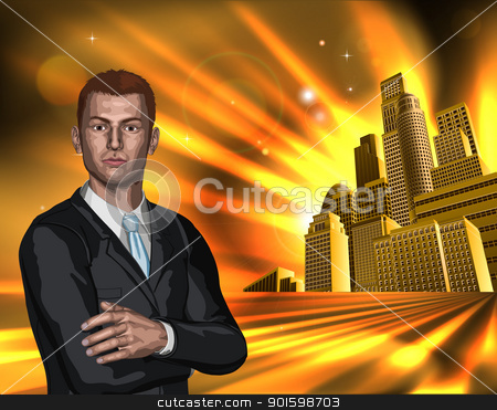 Business man with city background stock vector clipart, A young business man in a suit with city office blocks in the background.  by Christos Georghiou