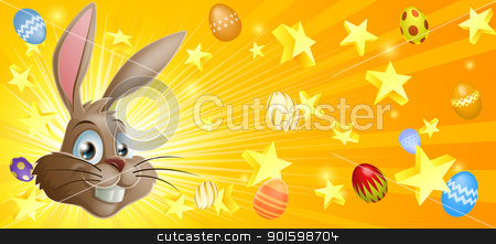 Easter background stock vector clipart, Easter background with Easter bunny stars and Easter eggs by Christos Georghiou
