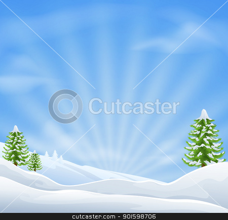 Christmas snow landscape background stock vector clipart, An illustration of an idyllic snow covered Christmas landscape with large sky area for copy when used as a holiday background by Christos Georghiou