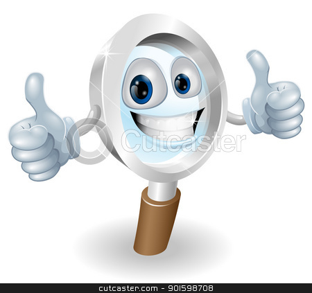 Magnifying glass cartoon character stock vector clipart, Cartoon character magnifying glass man mascot illustration graphic by Christos Georghiou