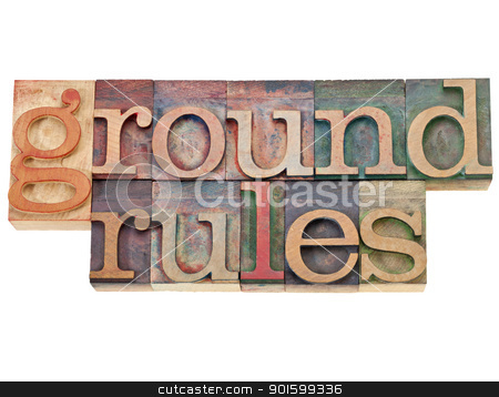 ground rules stock photo, ground rules - isolated phrase in vintage letterpress wood type by Marek Uliasz
