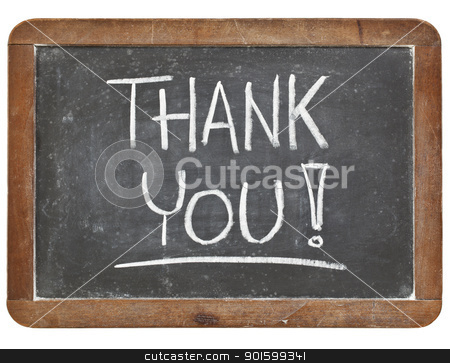 thank you on blackboard stock photo, thank you - white chalk handwriting on vintage slate blackboard isolated on white by Marek Uliasz
