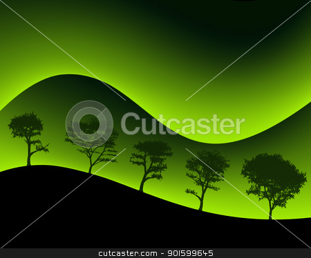 Green Mountains and Silhouetted Trees stock photo, Neon Colored Green Mountains and Silhouetted Trees by Snap2Art
