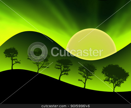 Green Mountains Sun and Silhouetted Trees stock photo, Neon Colored Sun Green Mountains and Silhouetted Trees by Snap2Art