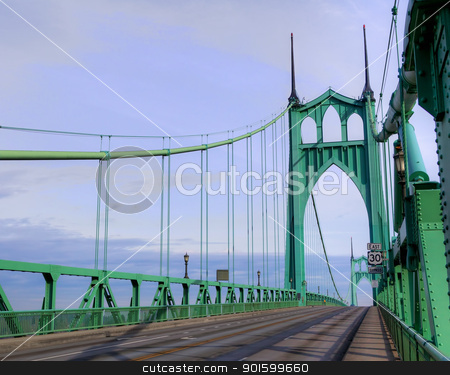 St. Johns Towers top no cars stock photo, St. Johns Towers on steel suspension bridge in Portland, OR by bobkeenan