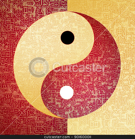 Ying-Yang symbol stock photo, Ying-Yang symbol with chinese letter, The sign of the two elements.  by Exsodus