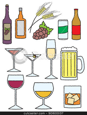 Cartoon Alcohol Related Items stock vector clipart, An assortment of items related to alcoholic drinks and beverages. by Jamie Slavy