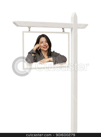 Real Estate Sign with Smiling Hispanic Woman stock photo, Isolated Real Estate Sign with Clipping Path - Smiling Hispanic Woman. by Andy Dean