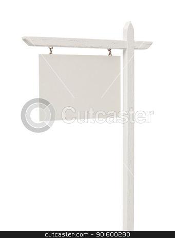 Blank Real Estate Sign with Clipping Path stock photo, Isolated Blank Real Estate Sign with Clipping Path. by Andy Dean