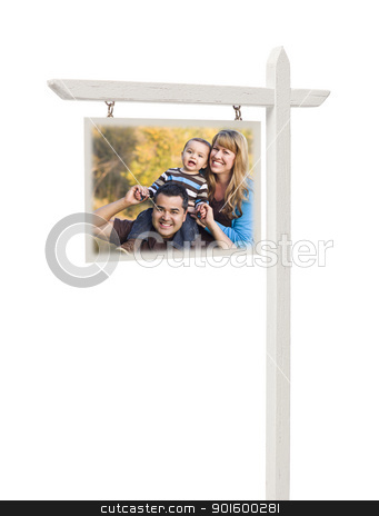 Real Estate Sign with Mixed Race Family stock photo, Isolated Real Estate Sign with Clipping Path and Happy Mixed Race Family. by Andy Dean