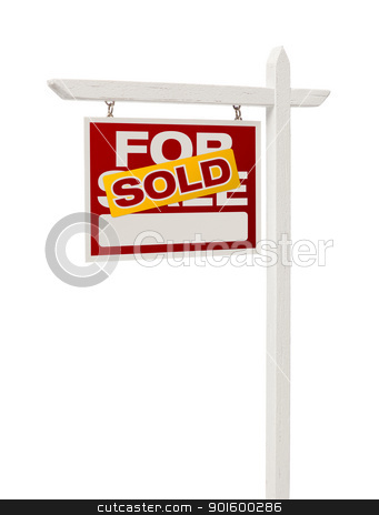 Sold For Sale Real Estate Sign with Clipping Path stock photo, Isolated Sold For Sale Real Estate Sign with Clipping Path. by Andy Dean