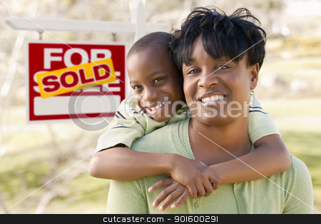 Mother and Child In Front of Sold Real Estate Sign stock photo, Happy African American Mother and Child In Front of Sold Real Estate Sign. by Andy Dean