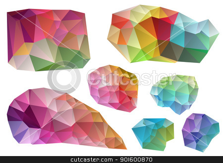 colorful vector design elements stock vector clipart, colorful wrinkled design elements, vector illustration by Beata Kraus