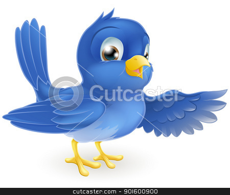 Bluebird pointing stock vector clipart, Illustration of a standing bluebird pointing with its wing by Christos Georghiou