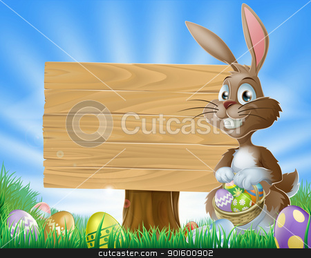Easter bunny rabbit background stock vector clipart, A cute Easter bunny rabbit character standing by a wooden sign holding a basket of decorated Easter eggs surrounded by Easter eggs in a field   by Christos Georghiou
