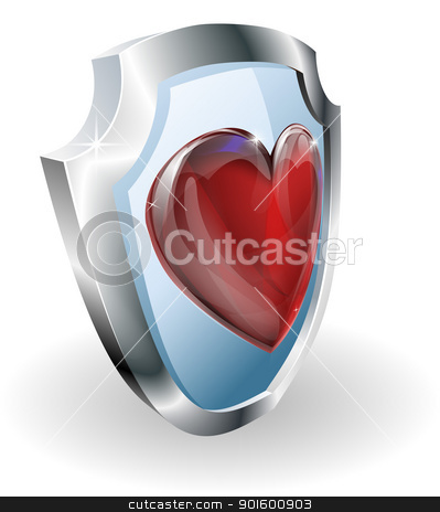 Heart on 3D shield icon stock vector clipart, Heart on shield icon. A conceptual illustration, could be used in may different ways e.g. to mean loving or liking something or strength in a relationship.  by Christos Georghiou