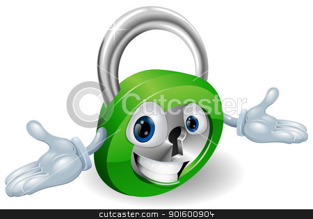 Smiling padlock character stock vector clipart, Cute smiling padlock cartoon character with open arms by Christos Georghiou