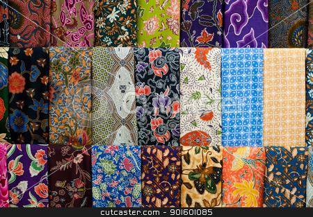 Colourful Batik stock photo, Closeup of colorful batik, Yogyakarta, Central Java, Indonesia by nvelichko