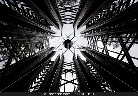 Abstract Tower stock photo, An abstract center of a wood ceiling inside a tower by Kevin Tietz