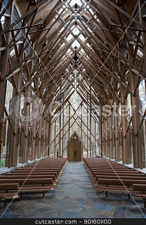 Church Aisle stock photo, The center aisle of a wooden and glass church by Kevin Tietz