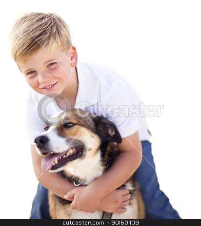 Handsome Young Boy Playing with His Dog Isolated stock photo, Handsome Young Boy Playing with His Dog Isolated on a White Background. by Andy Dean