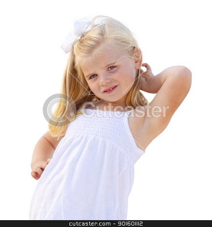 Adorable Little Blonde Girl Having Portrait Isolated stock photo, Adorable Little Blonde Girl Having Portrait Isolated on a White Background. by Andy Dean