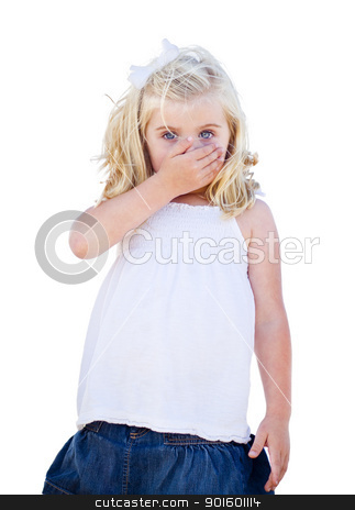 Blue Eyed Girl Covering Her Mouth Isolated stock photo, Adorable Blue Eyed Girl Covering Her Mouth Isolated on a White Background. by Andy Dean