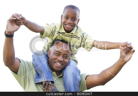 African American Son Rides Dad's Shoulders Isolated stock photo, African American Son Rides Dad's Shoulders Isolated on a White Background. by Andy Dean