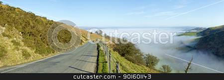 Panorama narrow road Welsh hills morning mist. stock photo, Panorama narrow road Welsh hills morning mist, Mynydd Epynt. by Stephen Rees