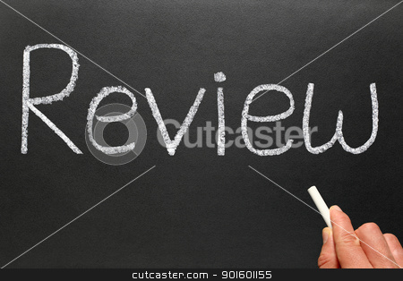 Writing review with white chalk on a blackboard. stock photo, Writing review with white chalk on a blackboard. by Stephen Rees