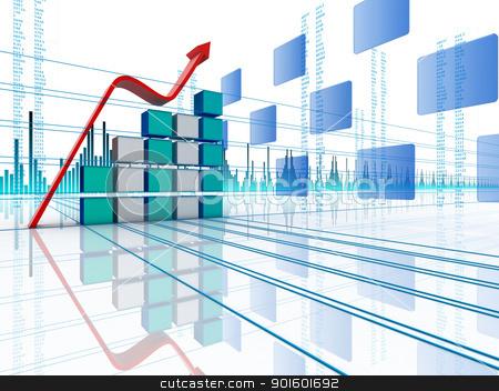 3D arrow waving and upwarding  stock photo, 3D arrow waving and upwarding  by dacasdo