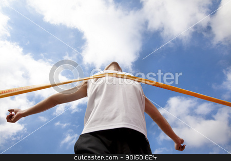 Winning runner with cloud background stock photo, Winning runner with cloud background by tomwang