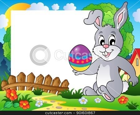 Frame with Easter bunny theme 3 stock vector clipart, Frame with Easter bunny theme 3 - vector illustration. by Klara Viskova